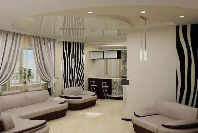 Дизайн комнаты г-образной